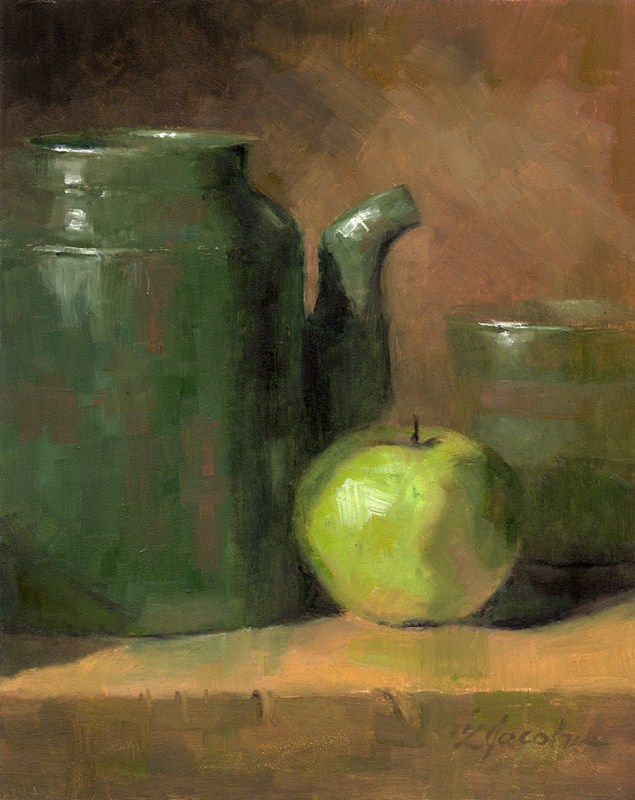 """Green Apple"" original fine art by Linda Jacobus"