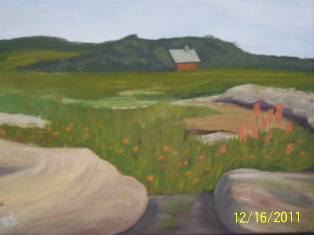 """Coastal Maine Near Pemaquid Lighthouse (Framed)"" original fine art by Elaine Shortall"