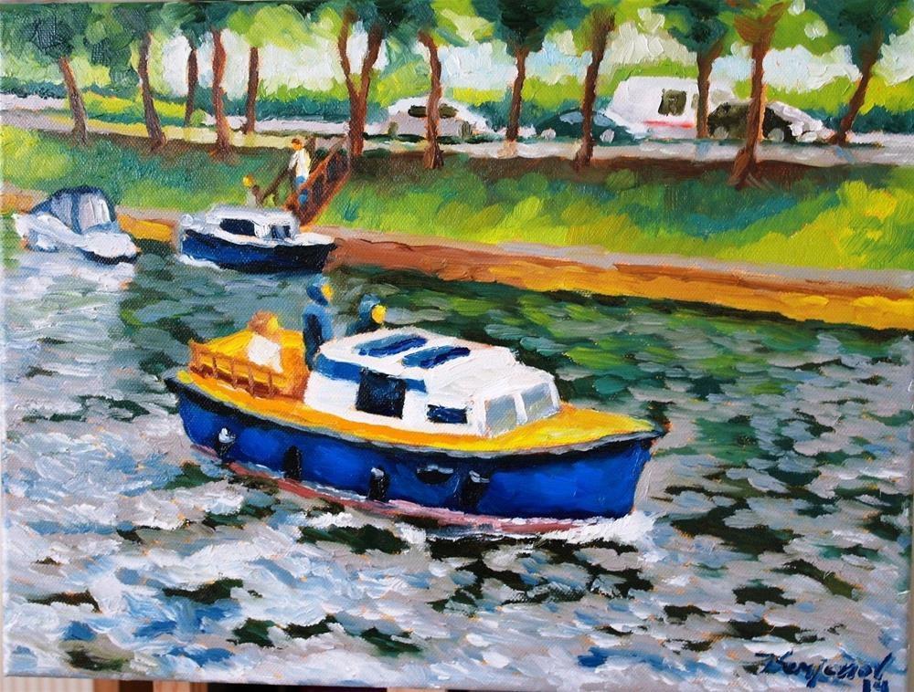 """""""boat on the canal"""" original fine art by Yuriy Semyonov"""