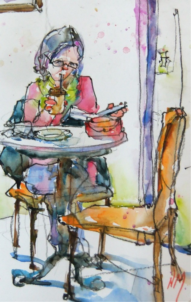 """can't put it down"" original fine art by Nora MacPhail"