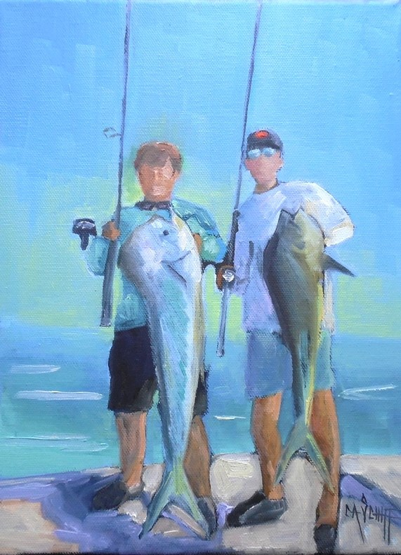 """Fisherman Painting, Daily Paintng, Small Oil Painting, 9x12x.75  NFS"" original fine art by Carol Schiff"