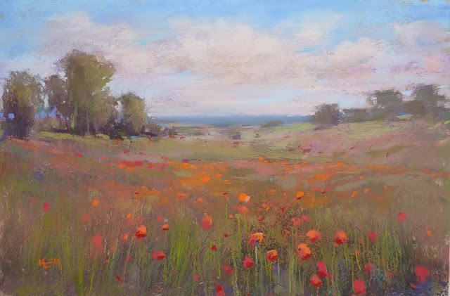"""Behind the Scenes: Painting the Poppies of Normandy"" original fine art by Karen Margulis"