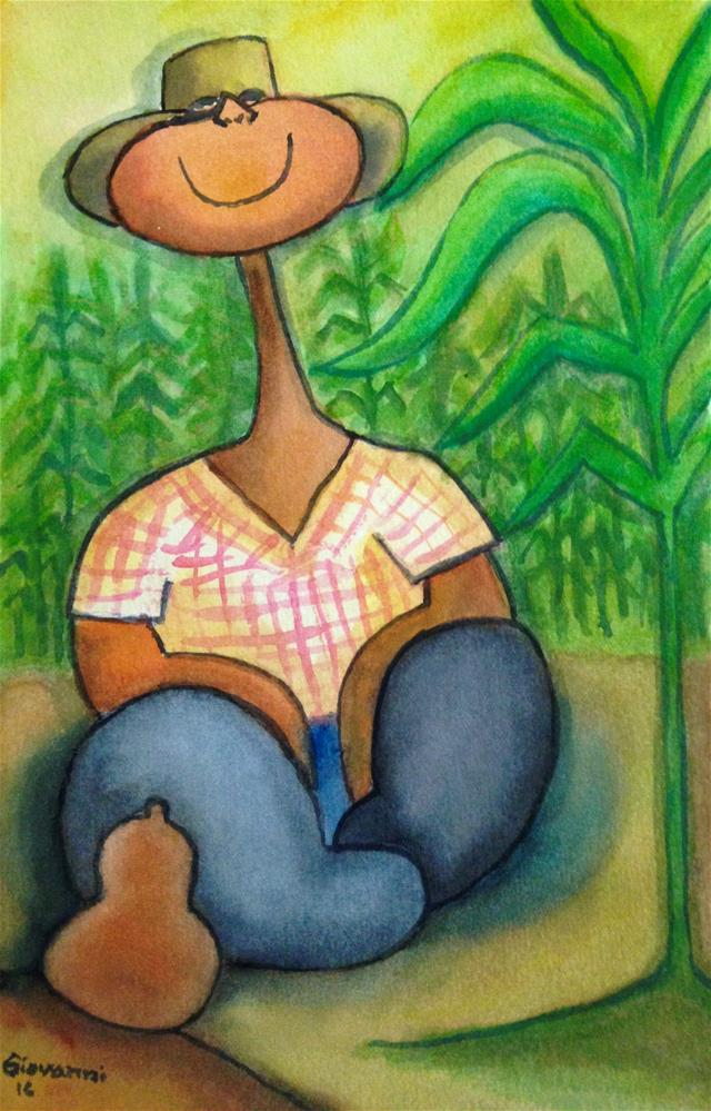 """Peasant taking a break"" original fine art by Giovanni Antunez"
