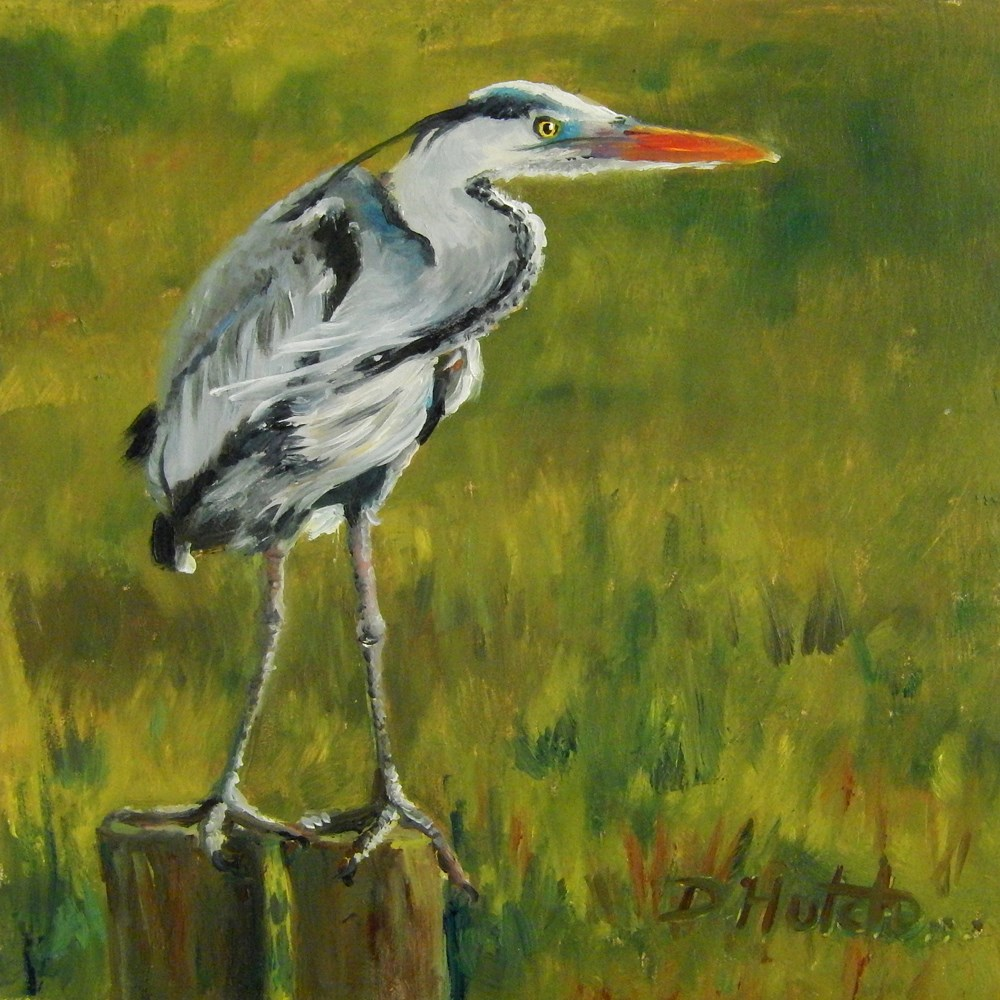 """Great Blue Heron"" original fine art by Diane Hutchinson"
