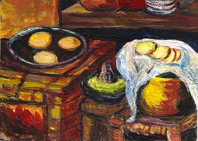 """ACEO Mexican Cocina Brick Oven Helguera Style Tortillas Guacamole Penny StewArt"" original fine art by Penny Lee StewArt"
