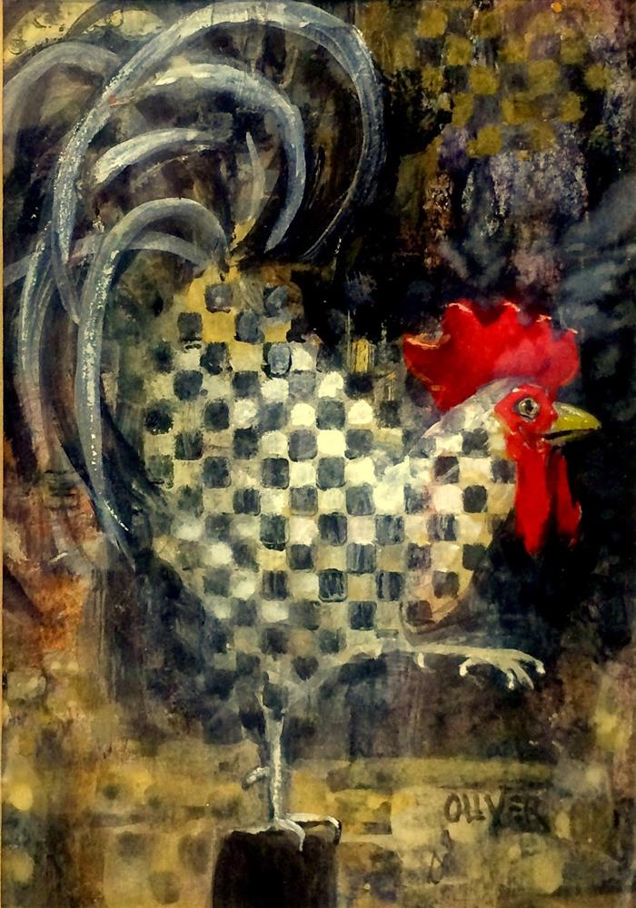 """Rooster With A Checkered Past"" original fine art by Julie Ford Oliver"