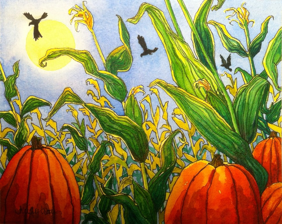 """HARVEST MOON"" original fine art by Kristy Tracy"