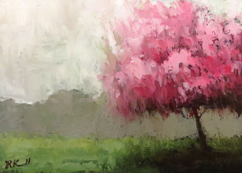 """Rosebud Tree II"" original fine art by Bob Kimball"