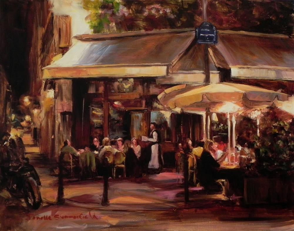 """Sidewalk Cafe at Night in Paris"" original fine art by Jonelle Summerfield"
