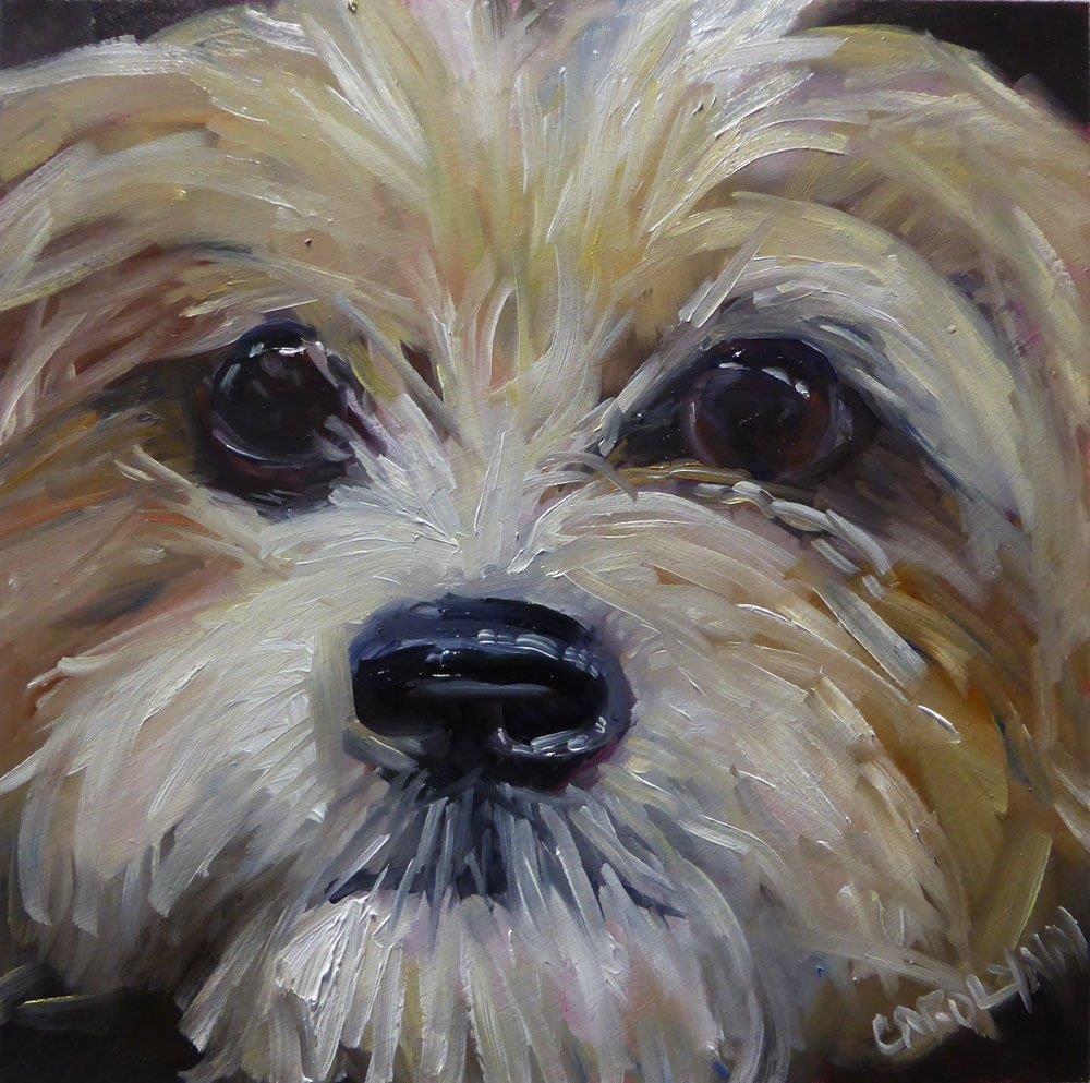 """Up Close - NYC subway dogs 4"" original fine art by Carolynn Doan"
