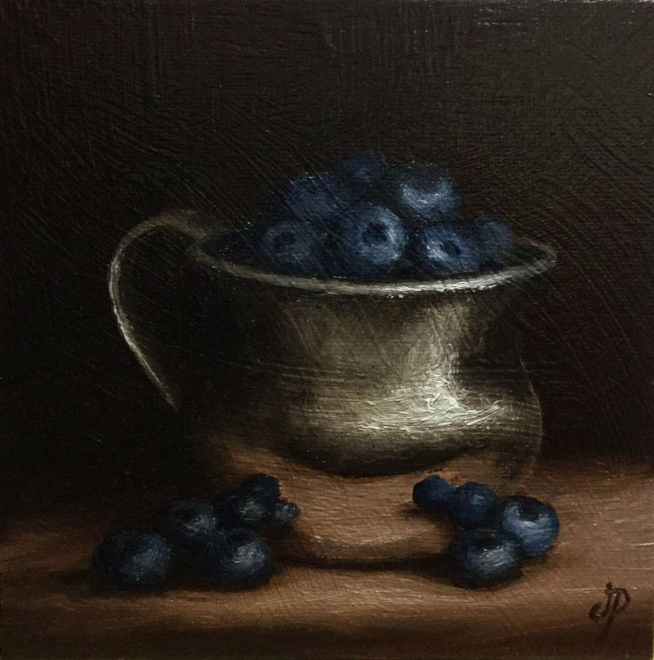 """Blueberry cup #3"" original fine art by Jane Palmer"