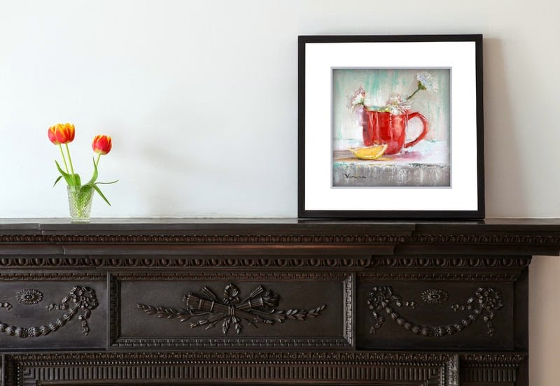 """""""Still Life with Red Cup and Lemon"""" original fine art by Carrie Venezia"""
