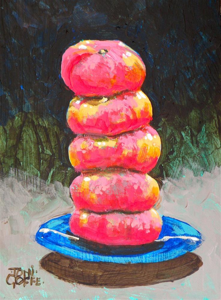 """Doughnut Peach Burger"" original fine art by Toni Goffe"
