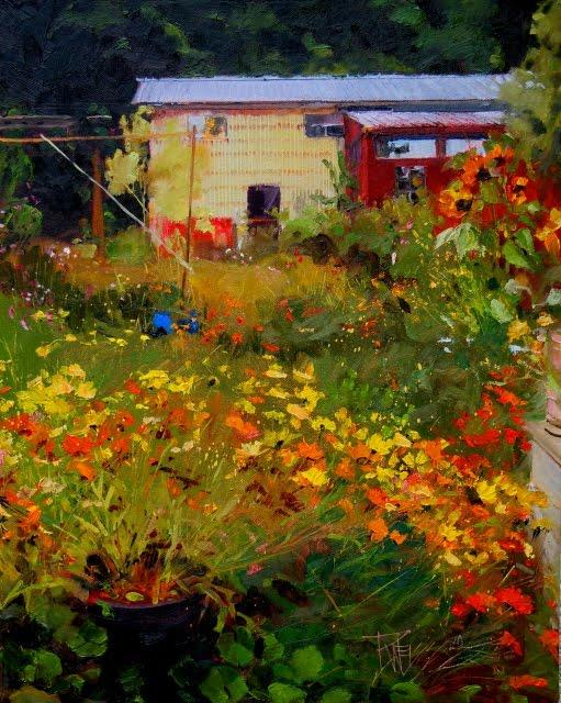 """Fall Flower Garden  oil landscape painting, flowers"" original fine art by Robin Weiss"