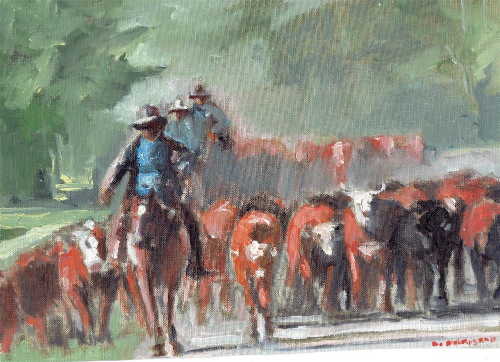 """Herding The Cows (10 x 8 oil on canvas sheet - no frame)"" original fine art by Ramon DelRosario"