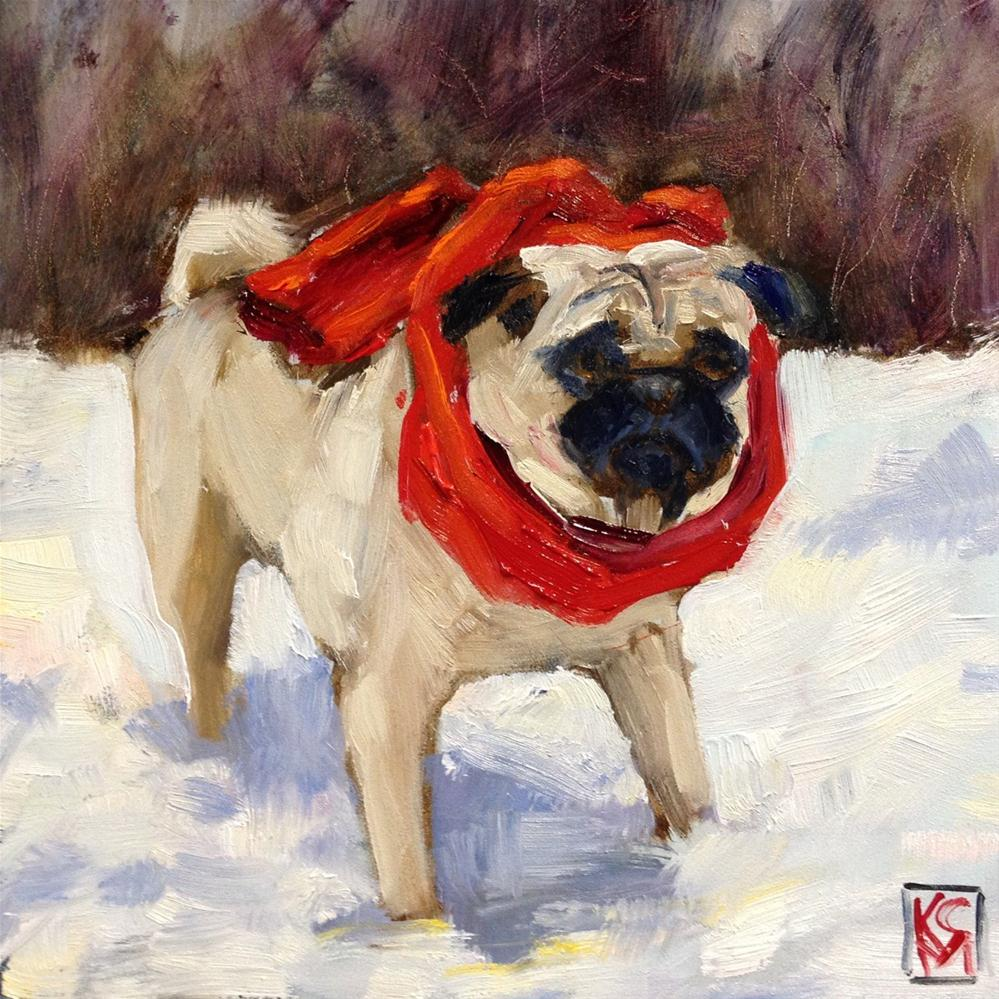 """Red Scarf Pug, 6x6 Inch Oil Painting by Kelley MacDonald"" original fine art by Kelley MacDonald"