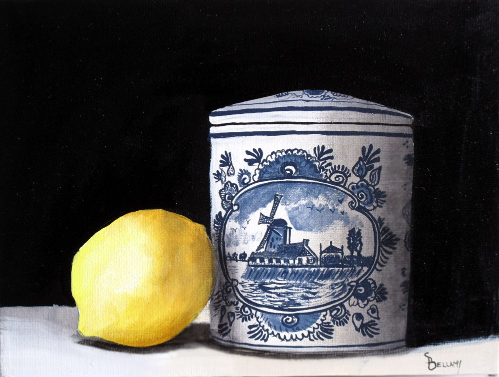 """Dutch Pottery and Lemon"" original fine art by Sherry Bellamy"