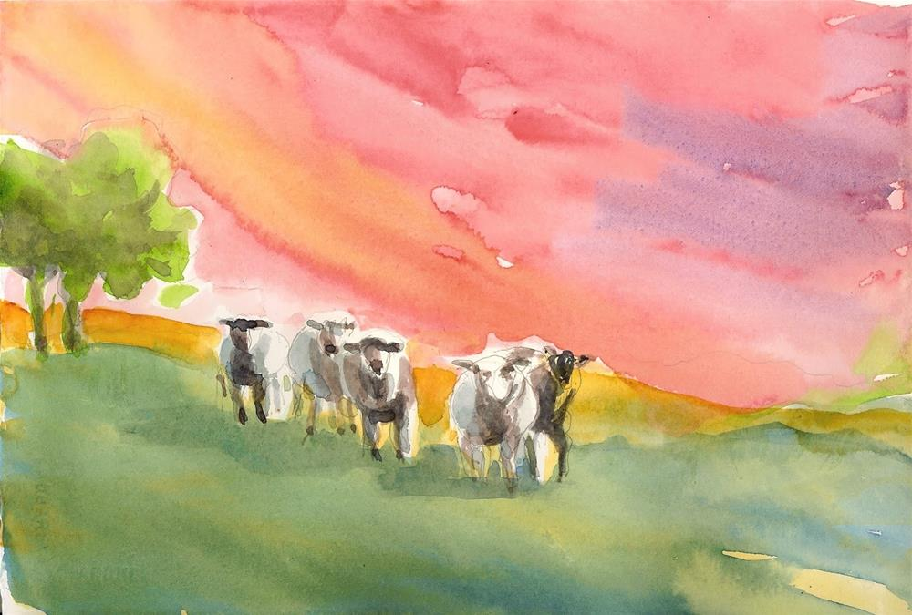 """Six Sheep at Dawn"" original fine art by Reveille Kennedy"
