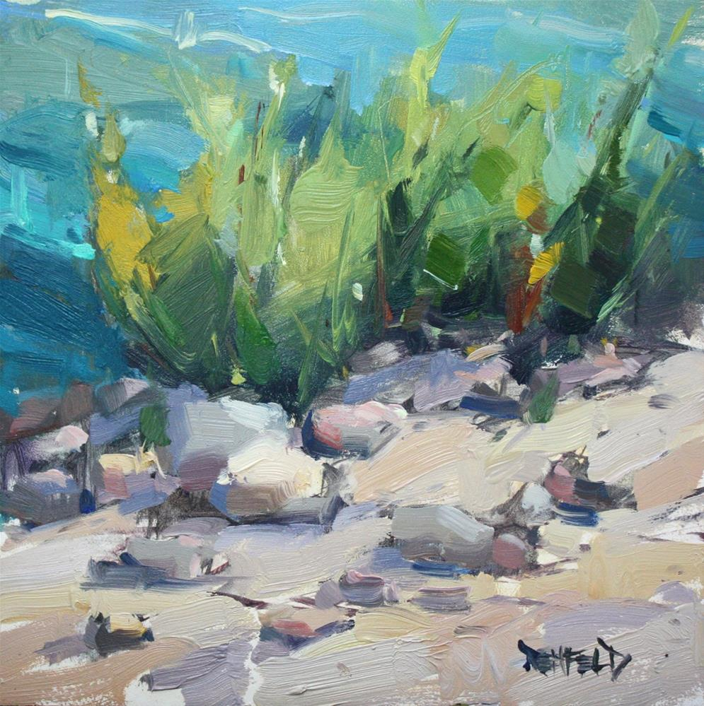 """Rocky Sandy Banks of The Hood River"" original fine art by Cathleen Rehfeld"