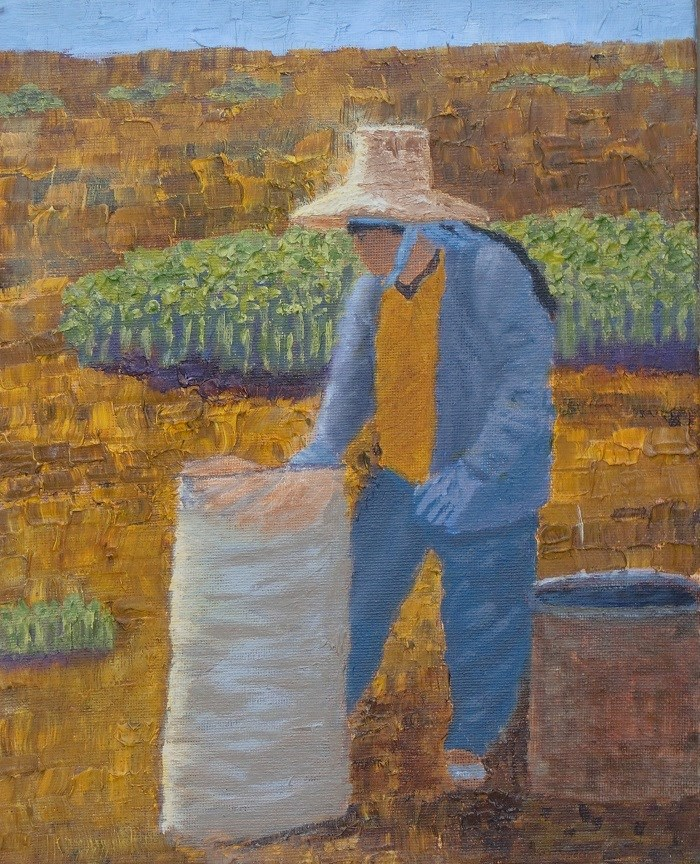 """Peanut packer"" original fine art by karen richardson"