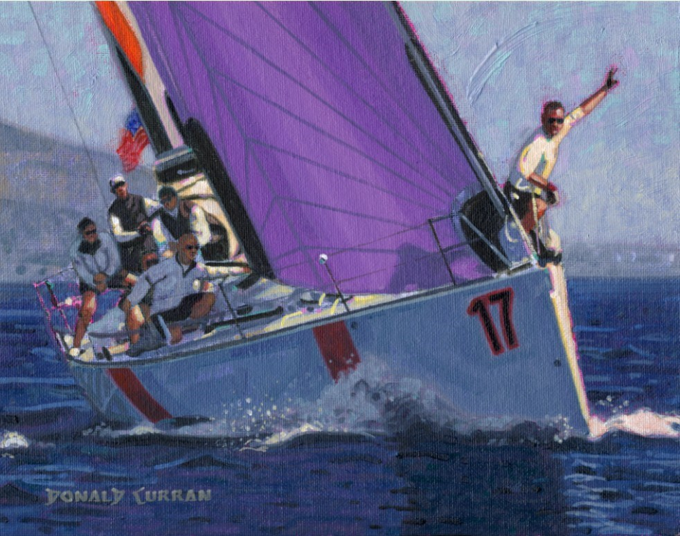 """Yacht Racing"" original fine art by Donald Curran"