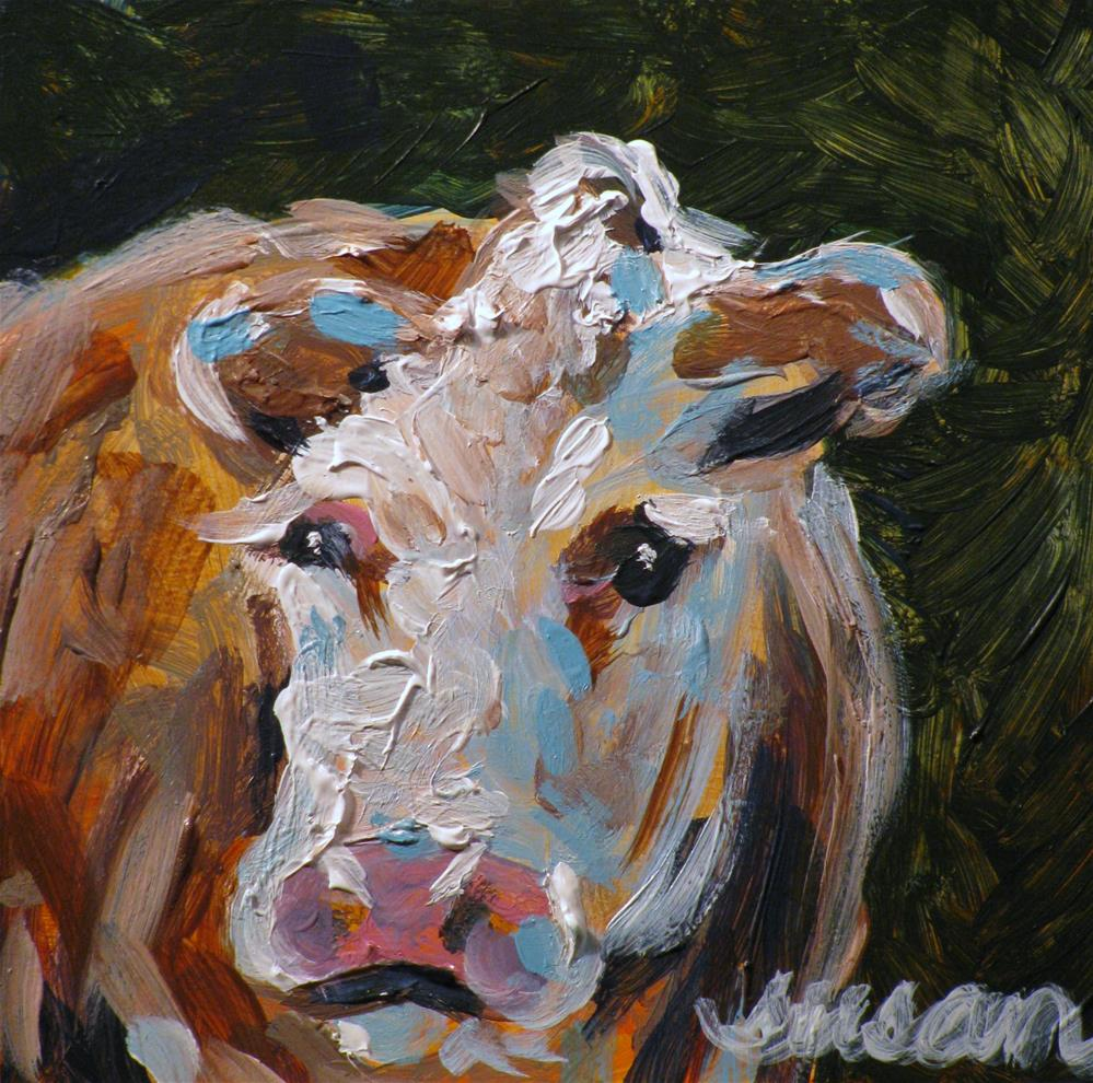 """Miniature Moo"" original fine art by Susan Elizabeth Jones"