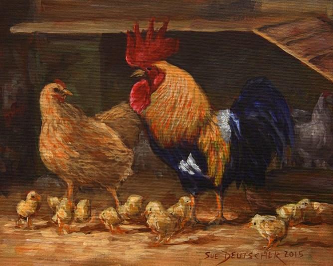 """""""Chicken World"""" original fine art by Sue Deutscher"""