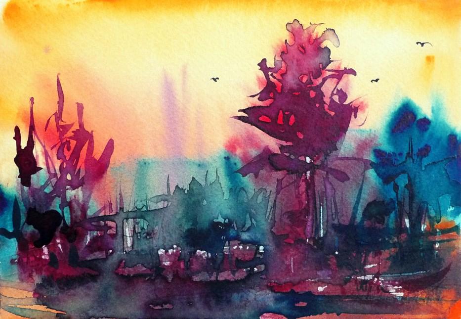 """""""Blue moment at dawn"""" original fine art by Mikko Tyllinen"""