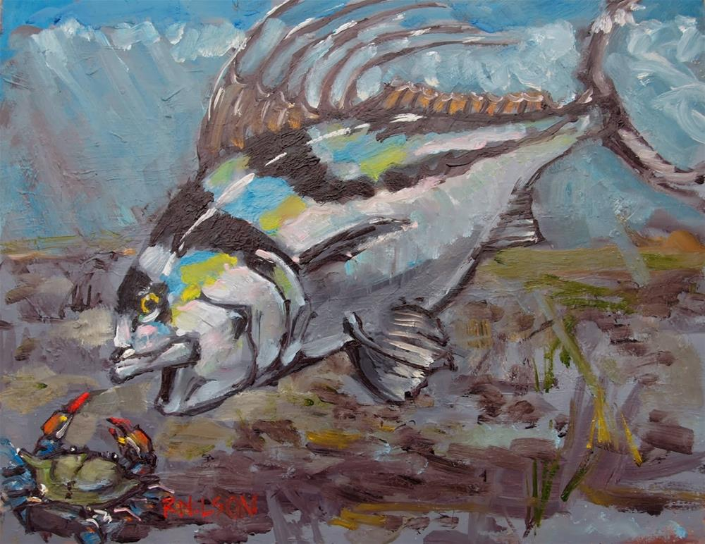 """Crab Dinner"" original fine art by Rick Nilson"