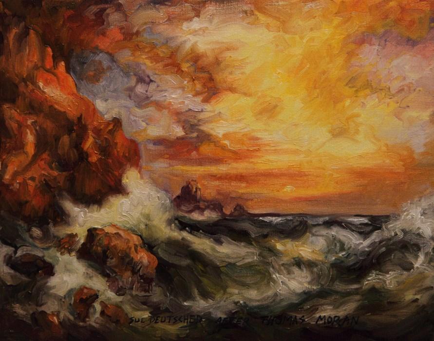 """""""After Thomas Moran's Land's End Cornwall"""" original fine art by Sue Deutscher"""