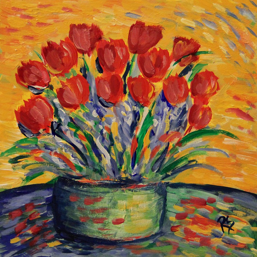 """Spring Basket"" original fine art by Roberta Schmidt"