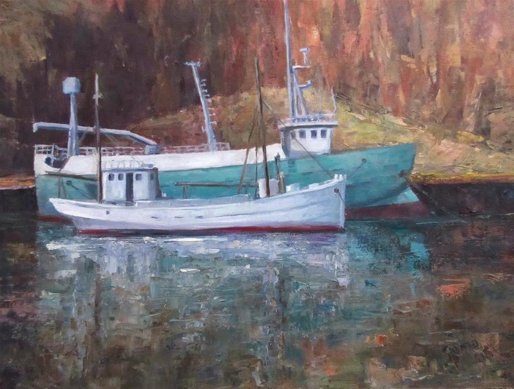 """""""Fishing boats Blátindur and Stígandi"""" original fine art by Steinunn Einarsdottir"""