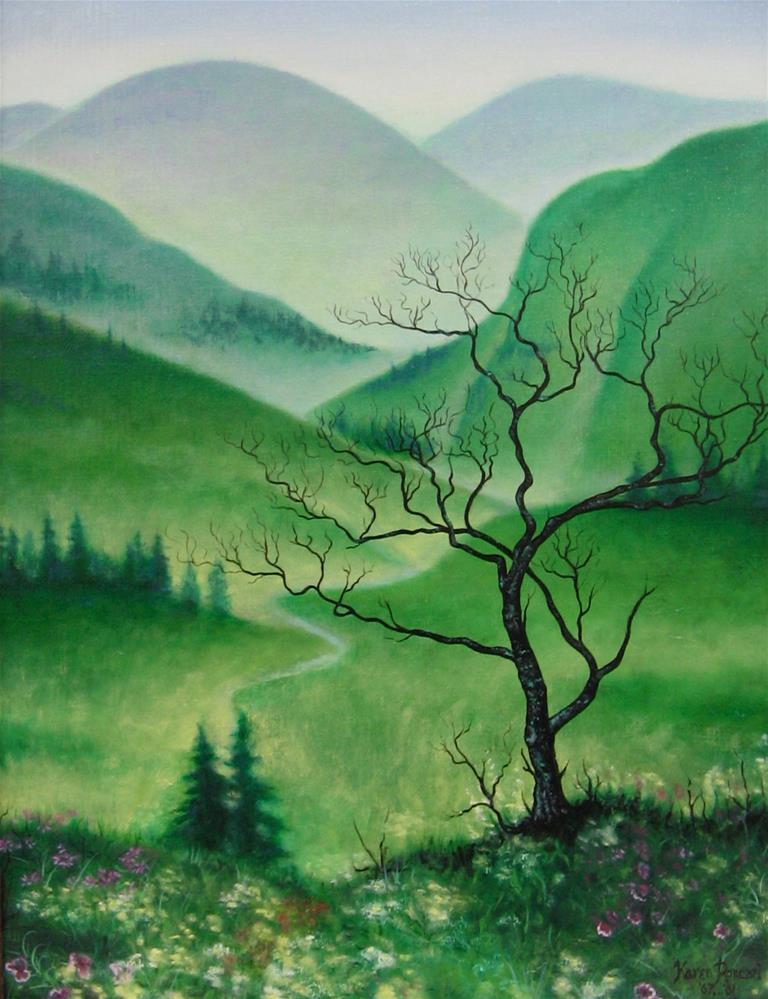 """Misty Mountains"" original fine art by Karen Roncari"
