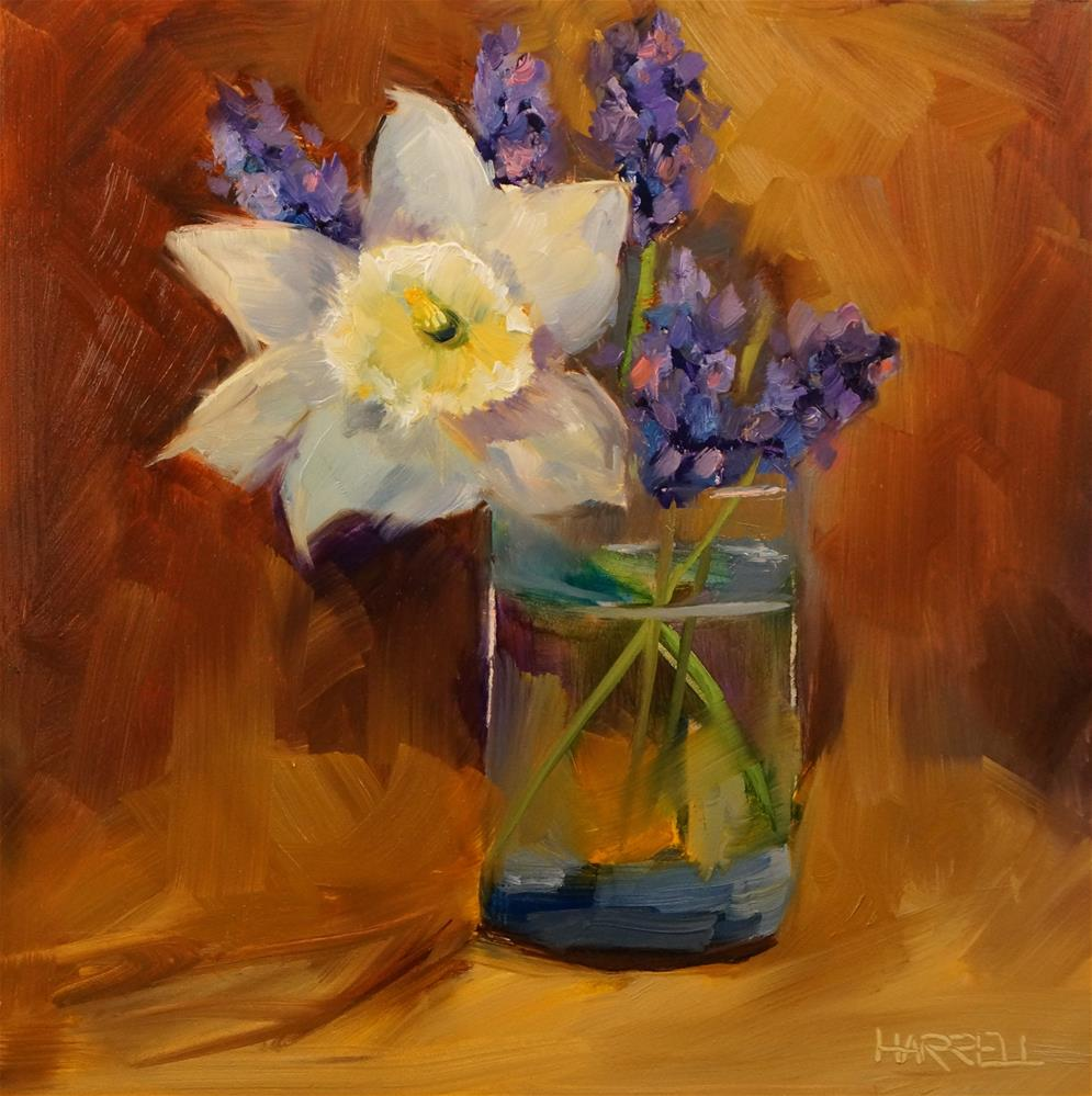 """Narcissus with Grape Hyacinth"" original fine art by Sue Harrell"