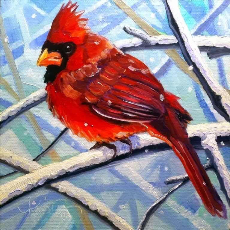 """SNOW BIRD"" original fine art by Kristy Tracy"