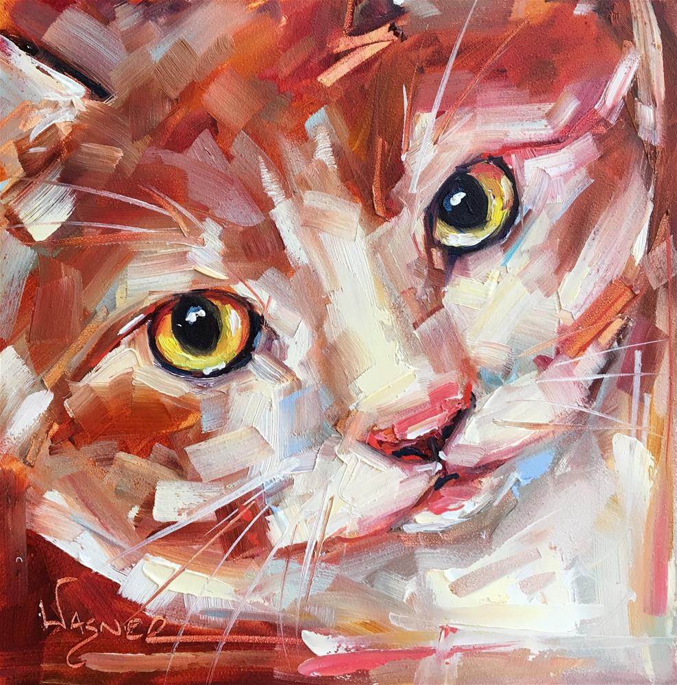 """ORIGINAL CONTEMPORARY RED AND WHITE CAT PAINTING in OILS by OLGA WAGNER"" original fine art by Olga Wagner"