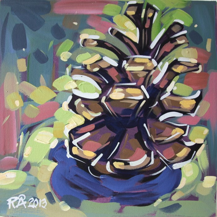 """Pine Cone Abstraction 7"" original fine art by Roger Akesson"
