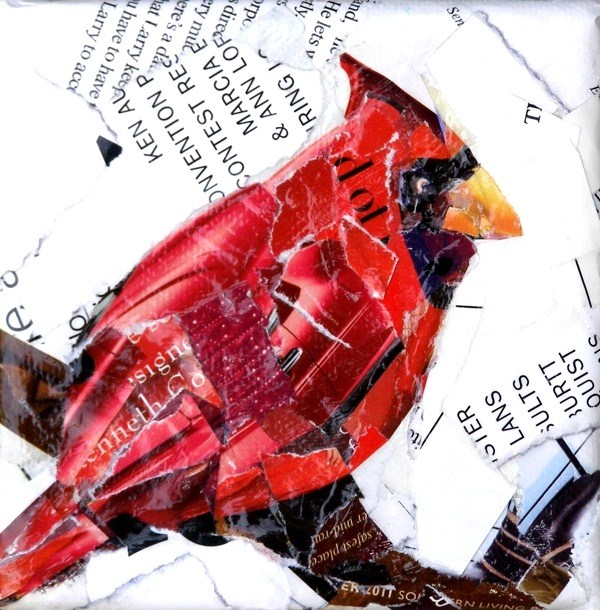 """Cindy's Cardinal, 4x4 Collage on Stretched Canvas"" original fine art by Carmen Beecher"