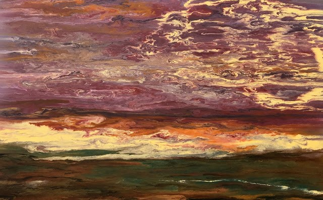 """Abstract Landscape,Sunset Art Painting Sky in Motion III by Colorado Contemporary Artist Kimberly"" original fine art by Kimberly Conrad"
