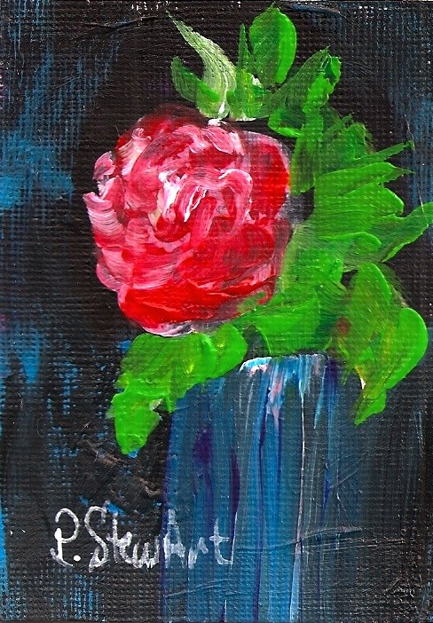 """""""ACEO A Rose in a Blue Vase Acrylic Original Painting"""" original fine art by Penny Lee StewArt"""