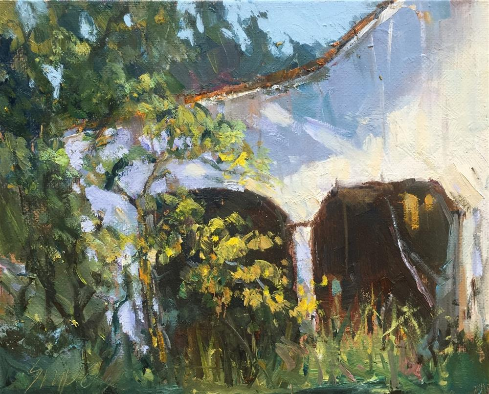 """Shadows on the Barn"" original fine art by Connie Snipes"