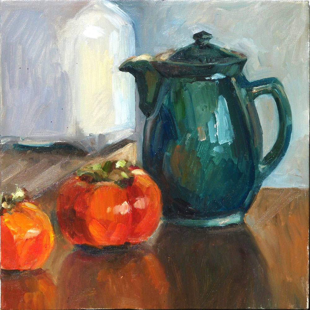 """Coffee pot with persimon"" original fine art by Myriam Kin-Yee"