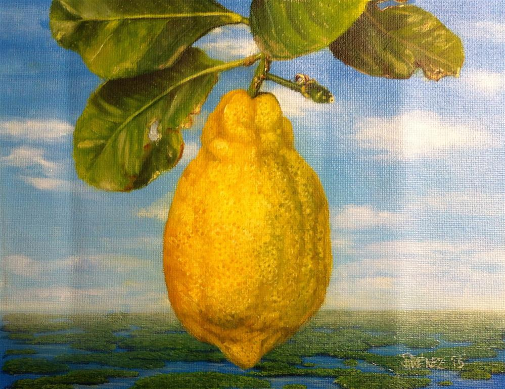 """""Gold of the Universe – homage to Magritte"" oil on canvas 8 x 10 inches still life"" original fine art by Paulo Jimenez"