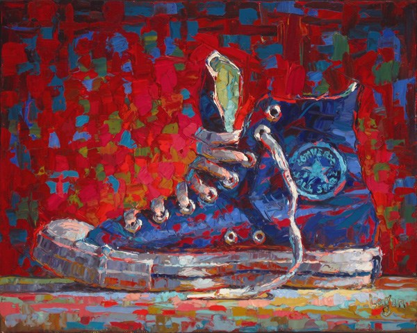 """Converse Hi-Top Blue"" original fine art by Raymond Logan"