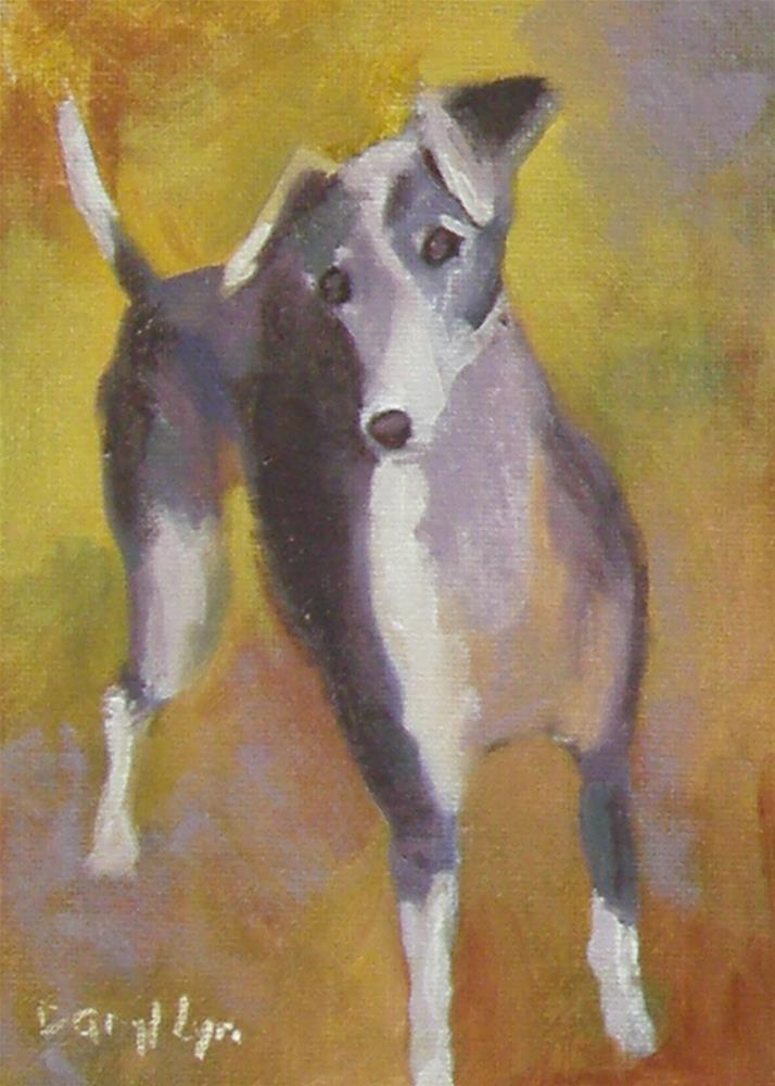 """Italian Greyhound in the Fall"" original fine art by Daryl Lyn King"