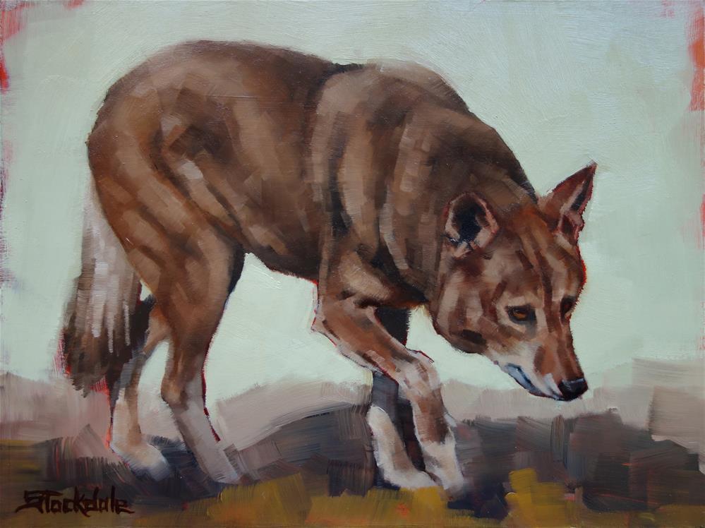 """Steppin Wolf"" original fine art by Margaret Stockdale"