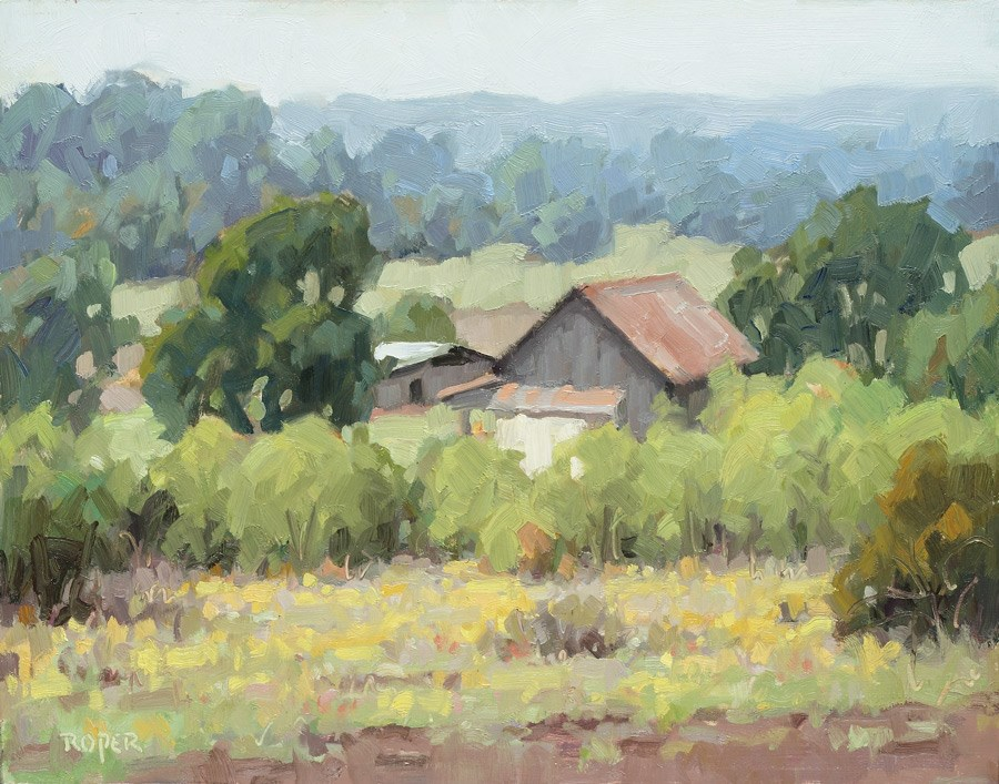 """DAY 10: Misty Morning Farm"" original fine art by Stuart Roper"