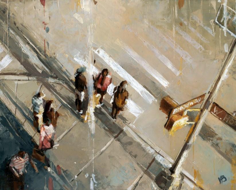 """""""Broadway & W. Houston"""" original fine art by Victor Bauer"""