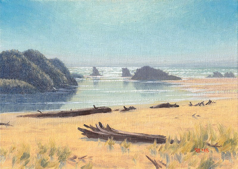"""C1606 ""Into the Light at the Devil's Kitchen"" (Bandon, Oregon Coast)"" original fine art by Steven Thor Johanneson"