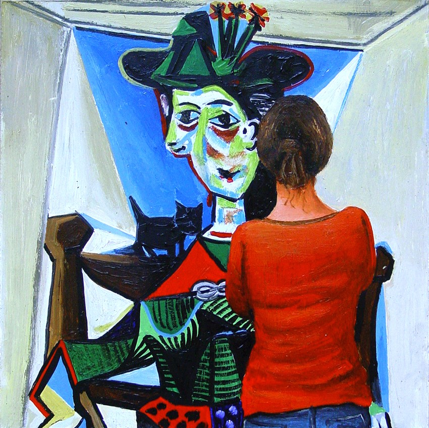 """Dora Maar Au Chat- Painting Of Woman Enjoying Painting By Pablo Picasso"" original fine art by Gerard Boersma"